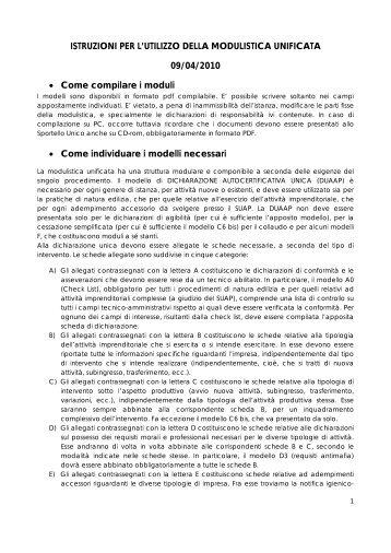 istruzioni per l'utilizzo della modulistica unificata - Sardegna SUAP