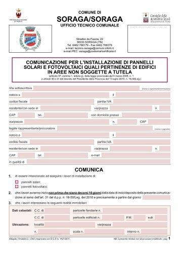 """Comunicazione pannelli solari"""""""" (File - Comun General de Fascia"""