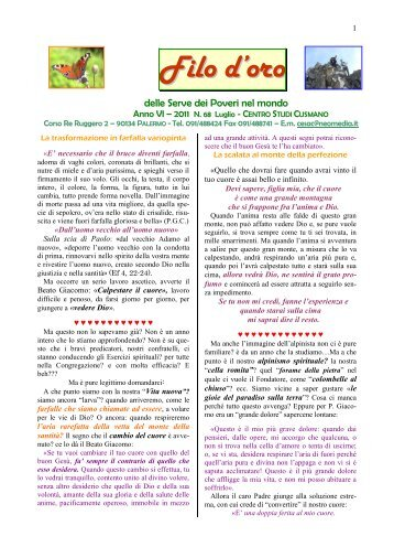 Luglio - Suore Serve dei Poveri del Beato Giacomo Cusmano