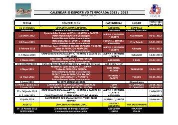 CALENDARIO DEPORTIVO TEMPORADA 2012 / 2013