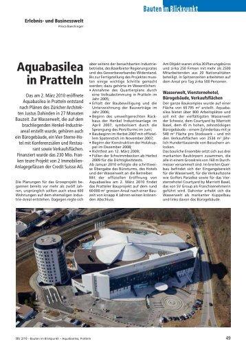 im Blickpunkt Bauten Aquabasilea in Pratteln - Robe Verlag AG