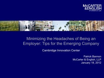 Tips for the Emerging Company - McCarter & English, LLP