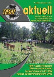 RBW aktuell / September 2005 - Rinderunion Baden-Württemberg e.V.