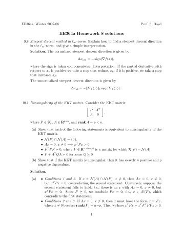 ee364a homework 8 solutions