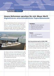 Meyer Werft Digitalisieren unterschiedlichster Papierdokumente
