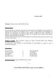 Compte-rendu synthétique du Conseil municipal du 20 octobre 2009