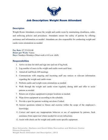 Weight Room Attendant Job Description