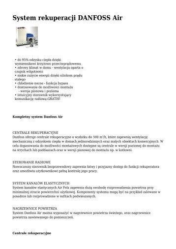 System rekuperacji DANFOSS Air - Ogrzewnictwo