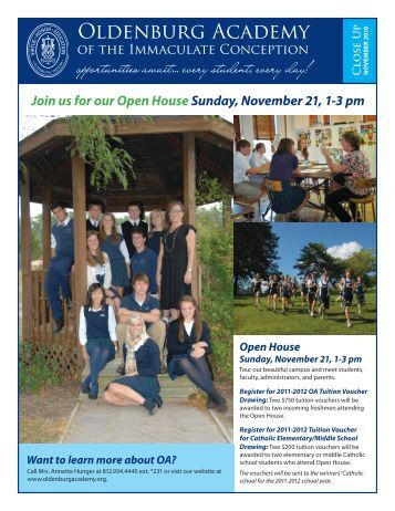 Open House Sunday, November 21, 1-3 pm - Oldenburg Academy