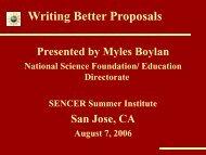 Writing Better Proposals - SENCER