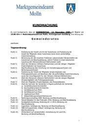 KUNDMACHUNG - Molln