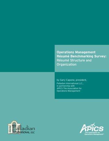 Operations Management Résumé Benchmarking Survey ... - apics