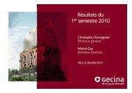 Résultats du 1er semestre 2010 - Gecina