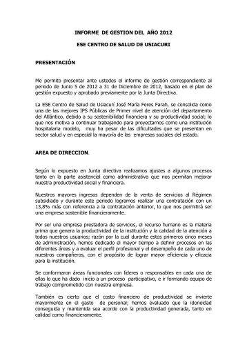 INFORME DE GESTION DEL AÑO 2004 - Usiacurí