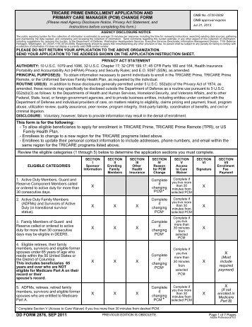 DD Form 2876, TRICARE Prime Enrollment, Disenrollment, and ...