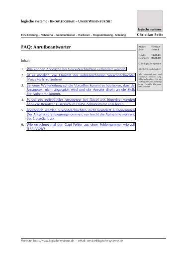 FAQ: Anrufbeantworter - logische systeme