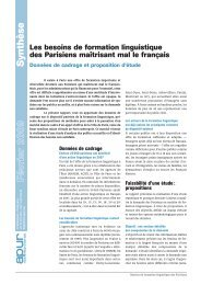 Les besoins de formation linguistique des Parisiens ... - Apur