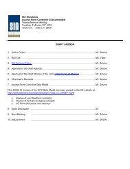 Draft Agenda SIA Standards Access Point Controller SC - 2007/02/20