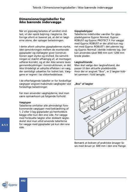 4.1 Dimensioneringstabeller 491-508 2 farver-2005.indd - Gyproc