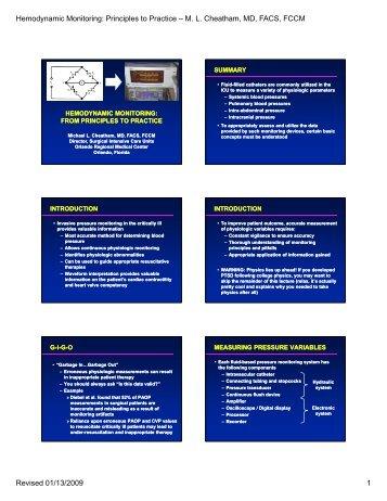 Hemodynamic Monitoring: Principles to Practice – M. L. Cheatham ...