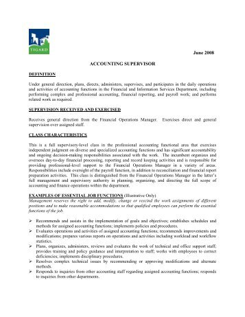 Job Description: Utility Billing Supervisor - City of Tigard