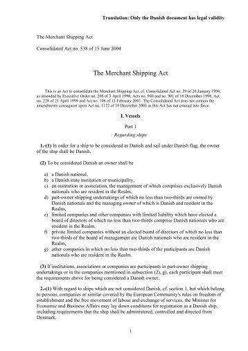 No. 538 of 15 June 2004 - Danish Maritime Authority