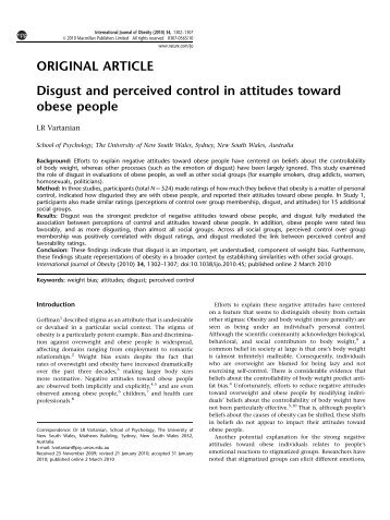 Disgust and perceived control in attitudes toward obese people