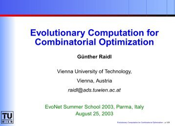 Evolutionary Computation for Combinatorial Optimization