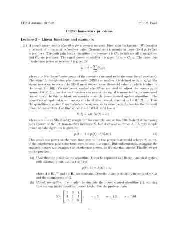Ee263 homework problems for 1st