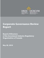 Corporate Governance Review Report - IIROC