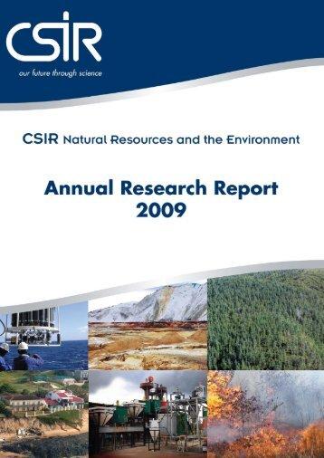 NRE Research Report 2009 - CSIR