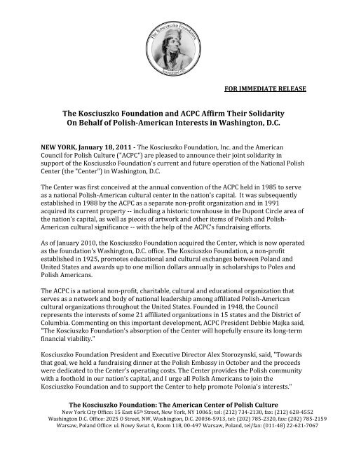 The Kosciuszko Foundation and ACPC Affirm Their Solidarity