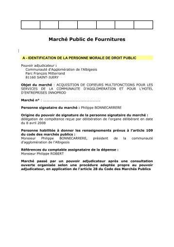 Marché Public de Fournitures - Communauté d'agglomération de l ...