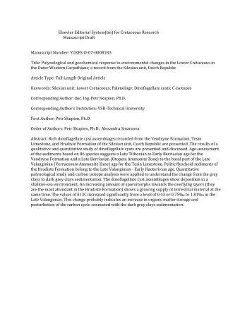 Elsevier Editorial System(tm) for Cretaceous Research Manuscript ...