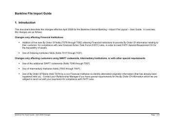 Changes to Bankline File Import Guide for January 2008 - NatWest