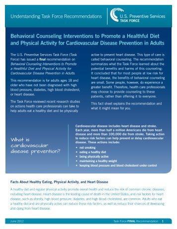 Understanding Task Force Recommendations: Behavioral ...