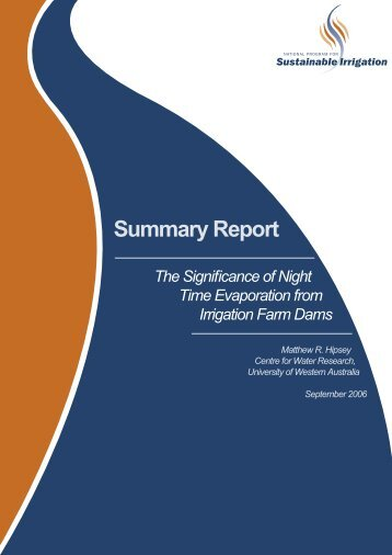 Summary Report: The significance of night time evaporation from ...