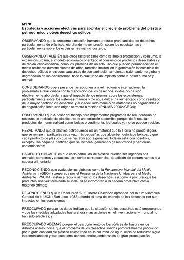 M170 Estrategia y acciones efectivas para abordar el ... - IUCN Portals