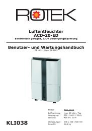 Luftentfeuchter ACD-20-ED - Rotek