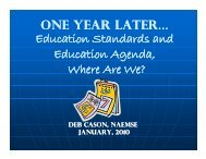 ONE YEAR LATER ON Education Standards and Education Agenda ...