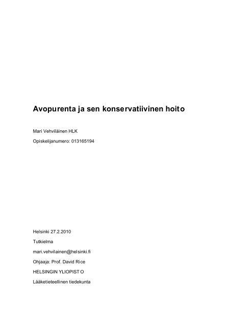 Avopurenta ja sen konservatiivinen hoito - Helda - Helsinki.fi
