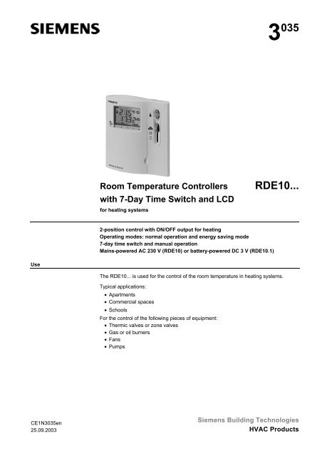Central heating siemens rde10-1 preview manual for free | page: 1.