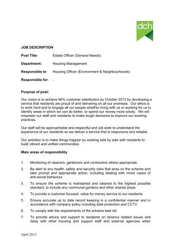 full job description pdf dch - Stockroom Job Description