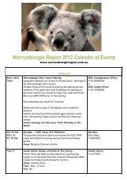 2012 Calendar last updated 3 April 2012 - Warrumbungle National ...