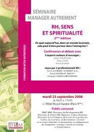 rh, sens et spiritualité manager autrement séminaire - Consulting ...