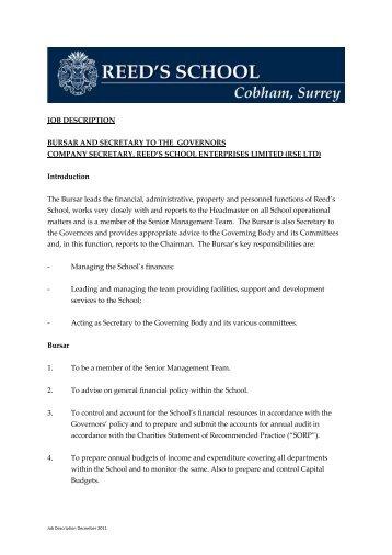 Job Description Bursar And Secretary Reeds School A   School Secretary Job  Description