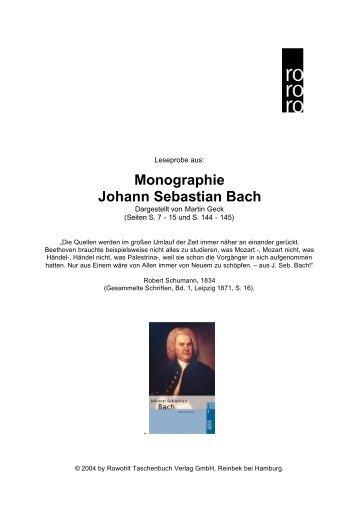 Monographie Johann Sebastian Bach - Rowohlt
