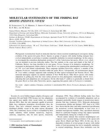 molecular systematics of the fishing bat myotis - Genomic Variation ...