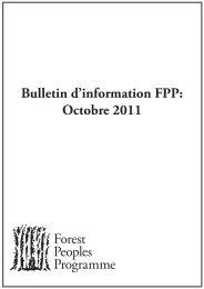 Bulletin d'information FPP: Octobre 2011 - Forest Peoples Programme