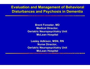 Behavioral-Psychosis in Dementia - McLean Hospital